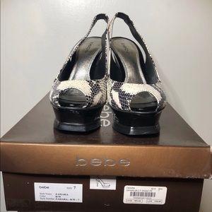 bebe Shoes - BeBe Zahara Black and White Snake Heel Size 7 -NIB